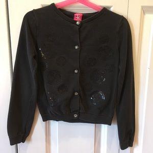 J Khaki Cardigan Sweater Girls Black Sequins Small